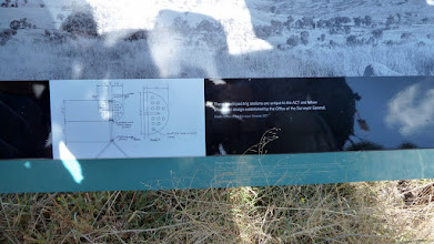 Photo: View of schematic of the special ACT quadripod used by surveyors surveying the ACT - Mt Arawang Panorama lookout