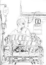 Photo: 戒護病房2010.08.16鋼筆畫 收容人住院得要上手梏腳鐐和掛鍊上鎖,而房門又是兩道鐵門。 幹這行十一年的我有時也會迷惘,固然這是依法令而行的職責… 但,這是出來治病?還是對人性尊嚴做最大的抹煞?在拘禁犯罪人的同時,我們到底對他們又做了什麼?