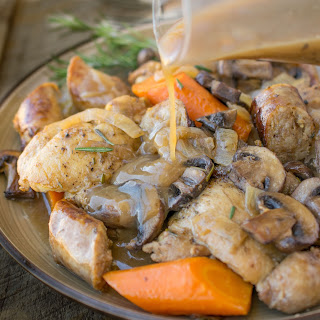 Slow Cooker Rosemary Chicken, Sausage & Mushrooms.