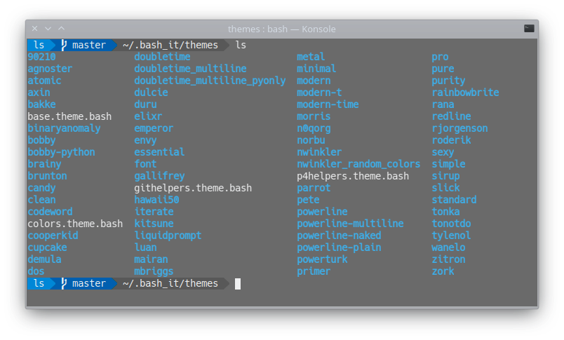 complete list of terminal themes available for bash-it