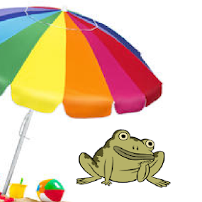 froggie logic:a sci-fi art by Jayita Mallik - Illustration Sci Fi & Fantasy ( frog, umbrella, relaxing, cartoon  fun, summertime )
