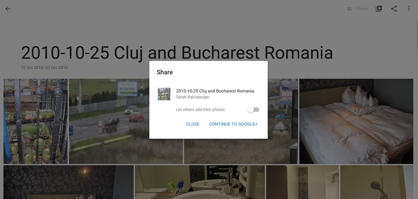 Sharing an Album from Google Photos to Google Plus