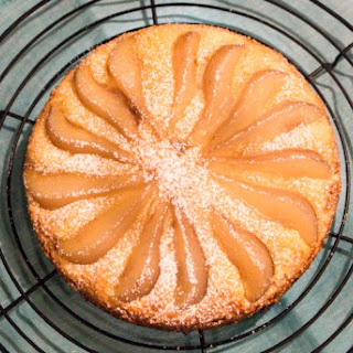 Almond Cake with Poached Pears