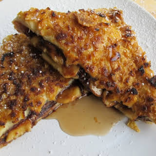 Crunchy Stuffed Nutella and Banana French Toast.