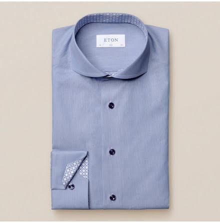 ETON Jaipur poplin blue hairline stripe light blue buttons contrast slim fit