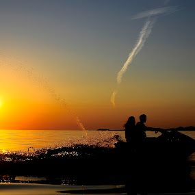 Jet for two.. by Zvonimir Cuvalo - People Couples ( two, adriatic, jet ski, sunset, summer )