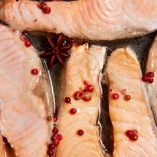 Wine-Poached Salmon Steaks