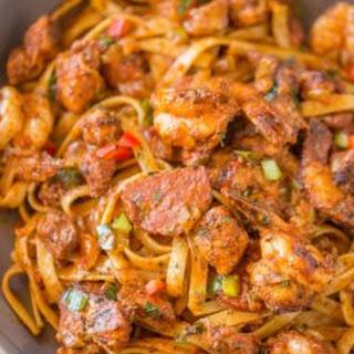 Easy Cajun Jambalaya Pasta.