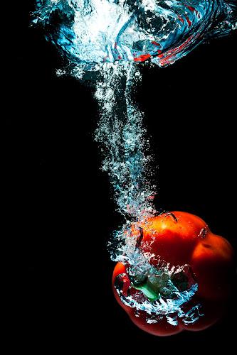 red pepper by Jerry Sjödin - Food & Drink Fruits & Vegetables ( ingredients, water, red, red pepper, bubbles, vegetables, pepper, black )