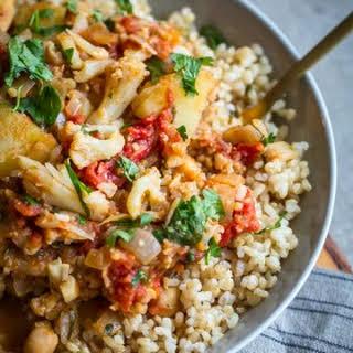 Vegan Cauliflower, Potato, and Chickpea Curry.