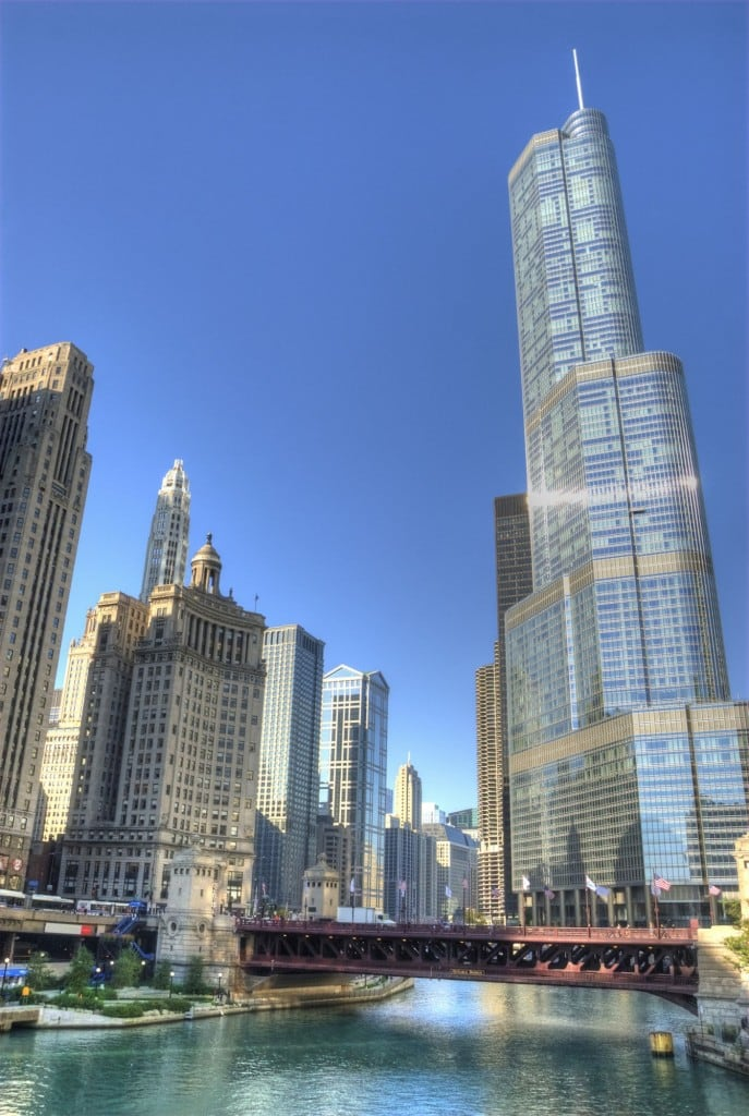 Trump Tower Chicago and Wrigley building