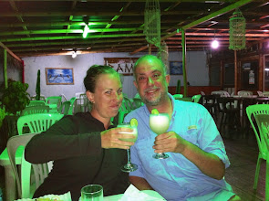 Photo: To our new friend, Catherine from Quebec, who we met in Los Organos, Peru!  Cheers with Pisco Sours.  June 2012.