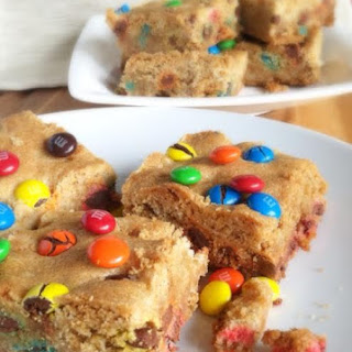M&M Peanut Butter Sugar Cookie Bars.