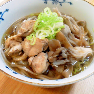 Hot Soba Noodles with Chicken and Maitake mushrooms, sesame flavored