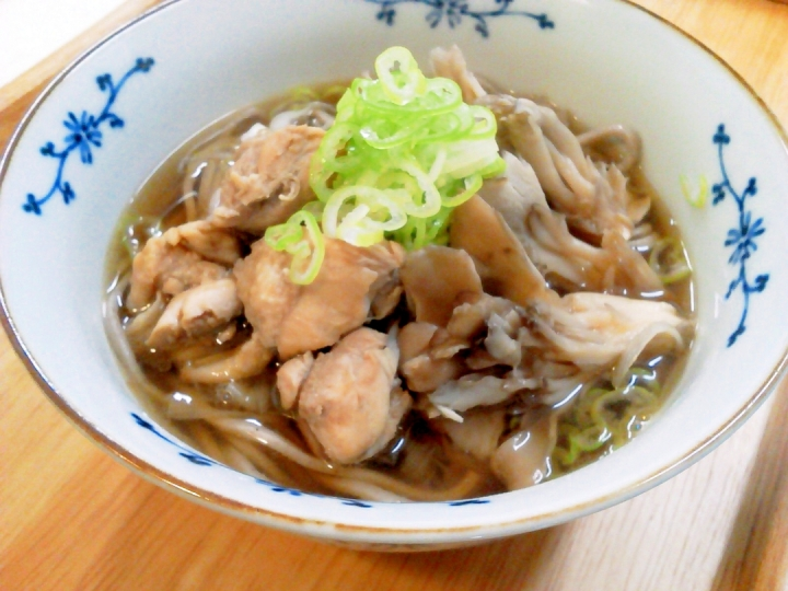 Hot Soba Noodles with Chicken and Maitake mushrooms, sesame flavored ...