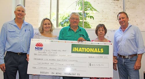 David Morris and Amanda Clarke of the Eulah Creek Recreation Reserve Committee, Murray Watson of the Spring Plains Hall Trust and Robyn Grover of Boggabri Golf Club with State Member for Barwon Kevin Humphries.