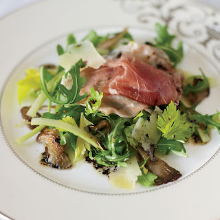 Arugula Salad with Prosciutto and Oyster Mushrooms.