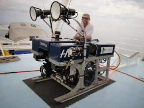 Photo: NURTEC's Hela ROV with pilot, Lance Horn on the National Geographic Expedition to Cocos Island (Photo credit: P. Auster)