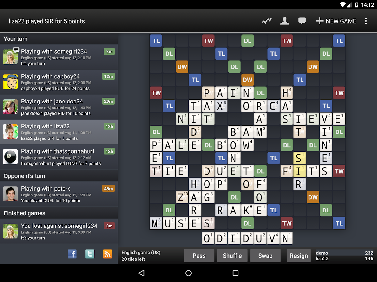 Wordfeud FREE- screenshot