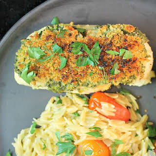 Pesto Chicken, Blistered Tomatoes and Orzo & Herb Pilaf.