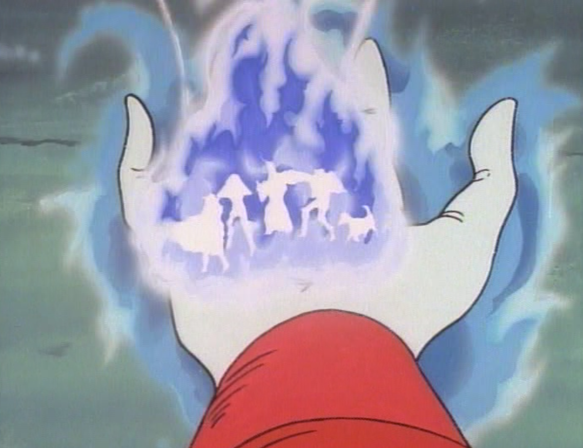 Outline of the party in a flame on Venger's hand