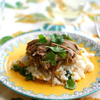 Slow Cooker Pork with Salsa Verde and Cilantro Rice..