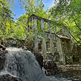 Ruins in Nature by Rebecca Roy - Buildings & Architecture Public & Historical ( water, hdr, waterfall, trees, ruins, architecture, decayed, decay, abandoned,  )