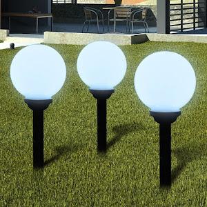 Set 3 x lampa solara cu senzor crepuscular, 35 cm, diametru 10 cm