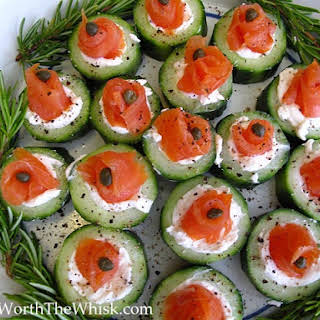Cucumber, Cream Cheese and Lox Appetizer.
