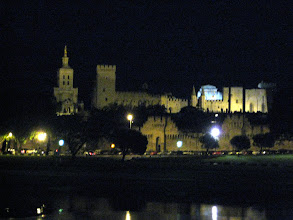 Photo: Our arrival in Avignon.  The captain brought the boat beyond our docking point for a few minutes so we could see the palace and the Pont de Avignon at night
