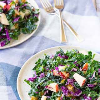 Kale Salad with Apples and Golden Raisins.
