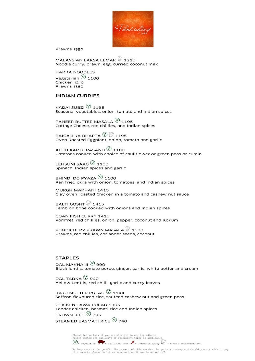 Pondichery Cafe - Sofitel menu 2