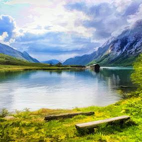 by Fredrik A. Kaada - Painting All Painting ( silent, cabin, hills, warm, peaceful, bench, grass, green, art, jotunheimen, norway, mountains, sky )