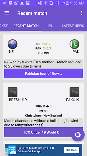 CricScore - Live cricket score 1.3 Windows u7528 4