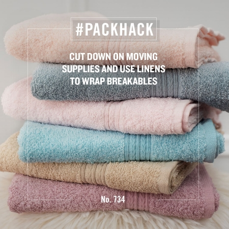 #packhack no. 734 - cut down on moving supplies and use linens to wrap breakables