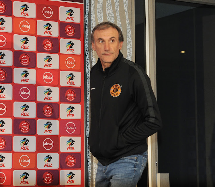 Kaizer Chiefs' Italian coach Giovanni Solinas arrives for a press conference at the PSL headquarters in Parktown, north of Johannesburg, on October 4, 2018.