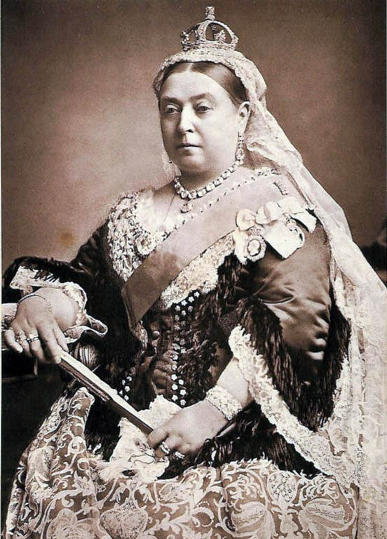 Empress Victoria of Great Britain and its dominions in her full imperial regalia.