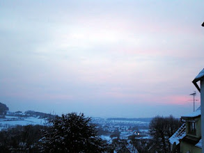 Photo: So winter finally has arrived - and just before it was dark the clouds thinned out a bit to display a slightly red sunset.