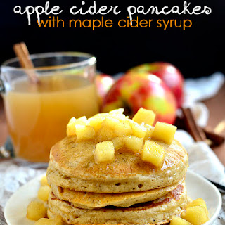 Apple Cider Pancakes with Maple Cider Syrup.