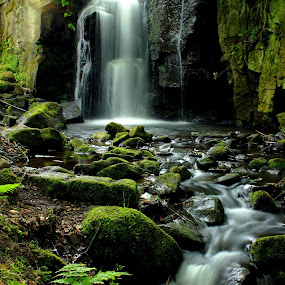 Lumsdale Falls by Michael Topley - Landscapes Waterscapes ( water, england, uk, lumsdale falls, waterfall, lumsdale, rocks, derbyshire )