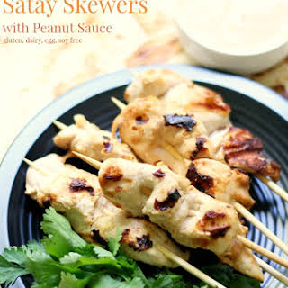 Grilled Chicken Satay Skewers with Peanut Sauce.