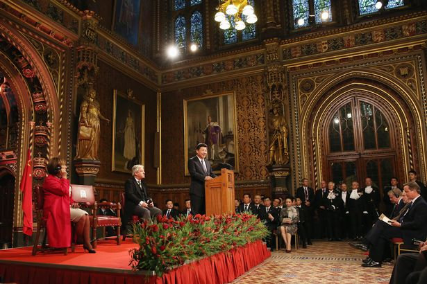 China's President, Xi Jinping addresses MPs and peers in Parliament's Royal Gallery