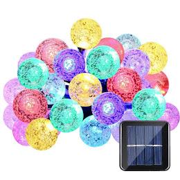 Instalatie solara LED 50 globulete multicolore