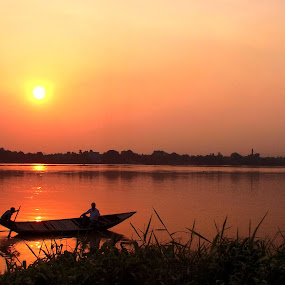 Panihati Ganga by Jhilam Deb - Transportation Boats ( ganga, kolkata, sunset, boats, sunshine, sunrise,  )