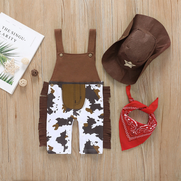 Baby Cowboy Halloween Costume With Hat & Scarf