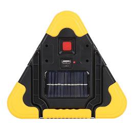 Triunghi reflectorizant LED cu incarcare solara si USB
