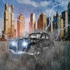 Oldtimer first class by Miroslav Potic - Digital Art Things ( car, old car, lighting, dramatic, oldtimer, classic, rain, smoke, manipulation )