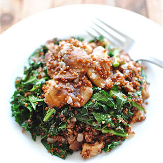 Red Quinoa with Mushrooms and Kale