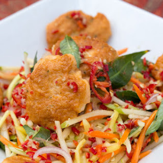 Smoked Fish and Prawn Cakes with Green Mango and Apple Salad.