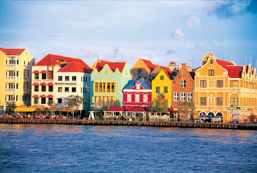 Willemstad-Curacao-Punda - Colorful buildings line the waterfront of the Punda quarter of Willemstad, Curacao, in the Caribbean.